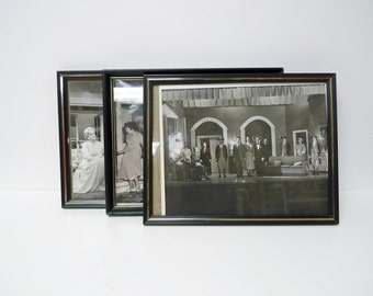set of 3 . black and white theatre framed photographs