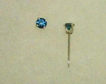 3mm London Blue Topaz Gemstones in 925 Sterling Silver Stud Earrings