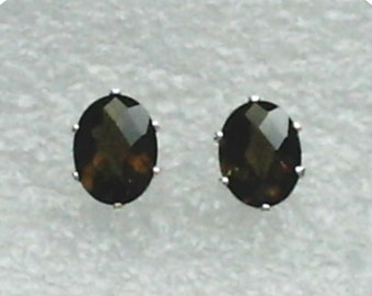 8x6mm Smoky Quartz Gemstones in 925 Sterling Silver Stud Earrings  SnapsByAnthony