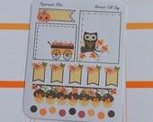 Fall Harvest Kawii Pumpkin PLANNER STICKERS  Weekend Banner  Full Box #pb4