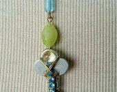 Repurposed Key Pendant with Turquoise Rhinestones and Glass Beads
