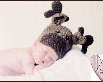 Hat, moose hat, baby moose hat, infant moose hat, kids, toddler hat