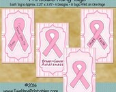 Instant Download - Printable Hang Tags - Breast Cancer Awareness - Digital Print PDF and/or JPG File