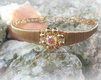Handmade Bracelet Ladies Bracelet Gold Fill Bracelet CZ Bracelet Flower Bracelet Wirewrapped Bracelet