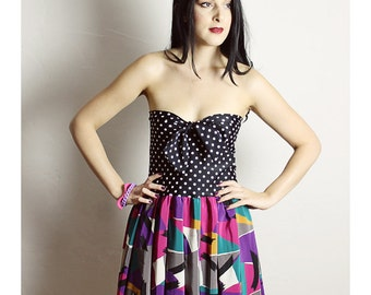 Pink Black Geometric Dress, Geometric Dress, Strapless Handmade Dress ,BOW Dress, Black Polka Dot Dress