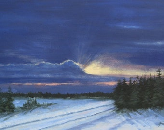 Sunset painting, winter painting, night painting, painting on canvas, Winter, - 18 X 30, foust