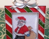 Santa with Gift Sack hand embroidered framed ornament