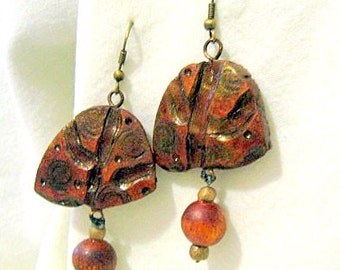 Gourd Wood-burned Earrings