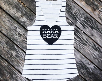 Mama Bear with Heart Black Sketchy Striped Racerback Tank Top with Black Print - Gift for Mom, Expecting, Family Photos, Mother to be