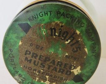 Vintage wobbly glass mustard jar, tin lid