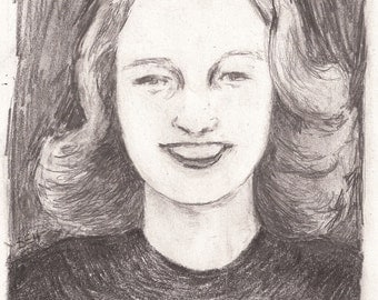 original pencil portrait drawing of a 1940's style woman