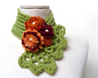 Crochet lime green scarflette - Lime green neckwarmer with flowers - burgundy, rust orange, yellow - WILD FLOWERS