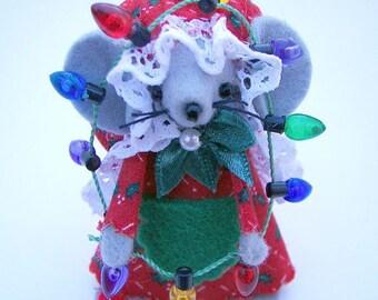 Christmas Ornament Decorator Mouse Whimsical Mice  Handmade Felt Animal with Christmas Lights by Warmth
