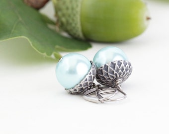 Autumn Earrings - Acorn Earrings - Silver and Soft Blue Pearls - Dangle Earrings - Woodland Jewelry - Rustic - Acorn Jewelry - Gift For Mom