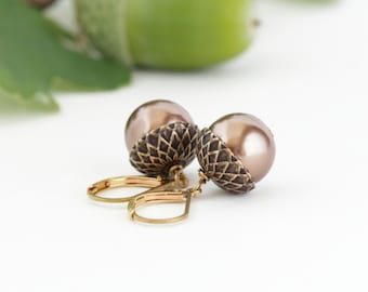 Nature Earrings, Acorn Earrings, Brass and Bronze Pearls, For the Nature Lover, Dangle Earrings, Woodland Jewelry, Rustic, Autumn