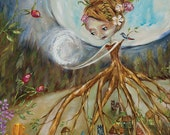 """Tiny Houses, Flowers, Half Moon, Full Moon, Forest, Beehive Hair, """"Mother Nature: Two Moons"""" Pop Folk Surrealism Print by Heather Renaux"""