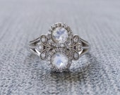 "Antique Moonstone and Diamond Halo Bohemian Engagement Ring Nature 14K white Gold Flower Art Deco Art nouveau Couples Ring ""The Utopia"""