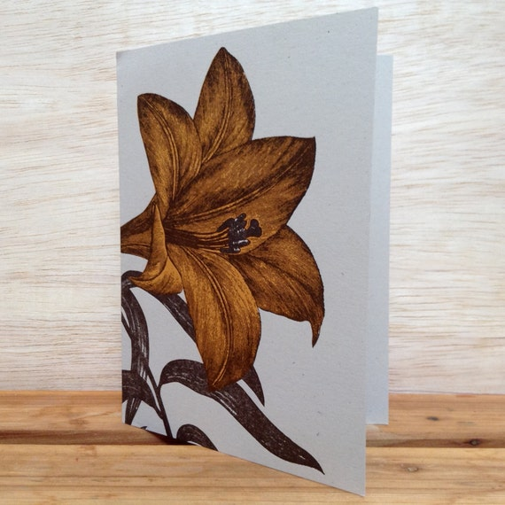 Orange DAY LILY Greeting cards Farmers Market Letterpress Card Pack of 8