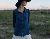 Prairie Button Front Simplicity Shirt - ( light hemp and organic cotton knit ) - Organic Cotton Shirt