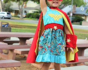 Wonder Woman Dress, DRESS ONLY, stume, Superhero party, Halloween costume, kids halloween costurm, Halloween cape, Superman,