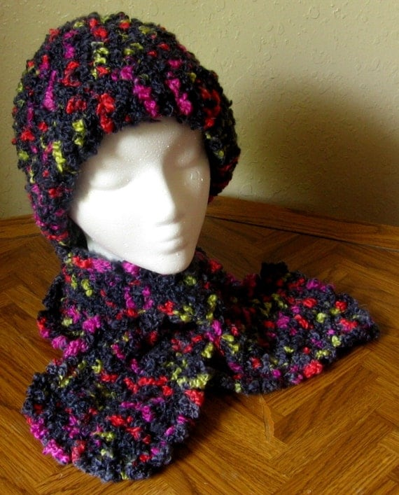 Black MultiColor Hat and Scarf Set, Neckwarmer Scarf and Hat Set, Handmade Adult Winter Accessory, Crochet Hat, Crochet Scarf