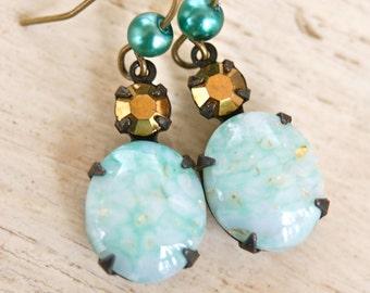 Emma.light green and gold rhinestone dangle earrings. Tiedupmemories