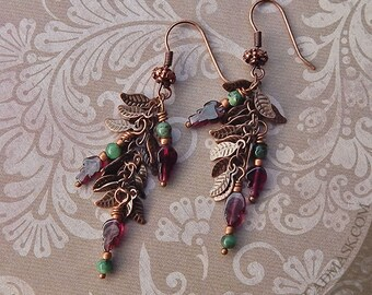Raw Emerald and Garnet Leaf Earrings  - Autumn Vines in Antique Copper