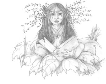 Book of Shadows Faery Art Print / Wall Art for the  Magical Home / FAETEAM / Black and White Illustration /Woodland Fantasy Fairy