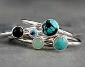 World Traveler Turquoise Stacking Rings, Sterling Silver, Set of 5 Rings, Turquoise Black Onyx Swiss Blue Topaz Aventurine Cabochon Gemstone
