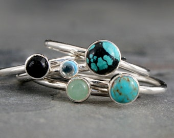 World Traveler Turquoise Stacking Rings, Sterling Silver, Set of 5 Rings, Turquoise Black Onyx Swiss Blue Topaz Aventurine Cabochon Gemstone