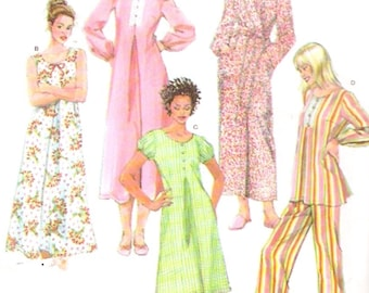 Nightgown Pajamas Robe sleepwear sewing pattern Simplicity 3636 includes plus size Uncut 16 to 24