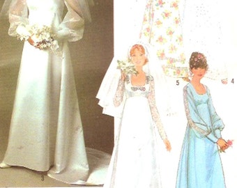70s Wedding dress and bridesmaid dresses pattern retro vintage sewing pattern Simplicity 8392 Bust 32