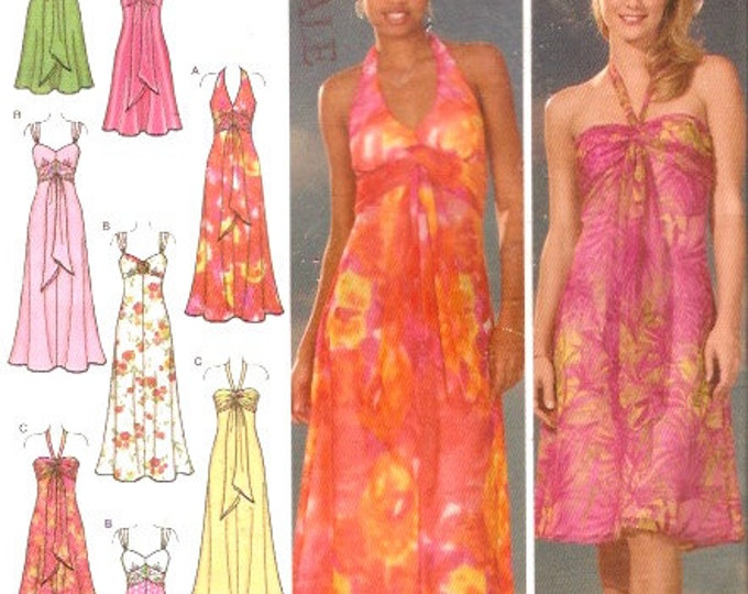 Bridesmaid Grad halter style evening dress sewing pattern Simplicity 4577 Sz 4 to 10 Uncut