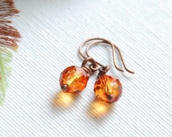 Firey Orange Earrings, Autumn Earrings, Copper Earrings, Rustic Autumn Jewelry, Sunset Orange, Glass Earrings, Orange Dangle Earrings