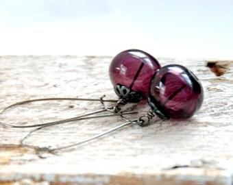 Purple Earrings, Jewel tone Wedding, Aubergine Earrings, Dangle Earrings, Simple Jewelry, Artisan Glass, Oxidized Silver -  Mulled Wine