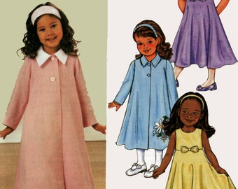 Toddlers' Children's Girls Coat and Dress Butterick 3757 OOP Sewing Pattern Size 1,2,3, Uncut