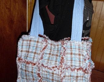 Blue and brown rag quilt handbag tote
