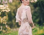 White Cotton Battenburg Lace Short Dress, Open Back