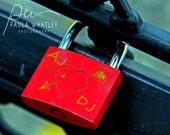 personalized art, personalized love lock, custom romantic art, custom wedding photo, wedding gift, wedding art, Valentine's Day gift