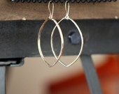 Large Hoop Earrings , Dangle Marquis Hoops in Gold Fill or Sterling Silver , Statement  Bohemian Jewelry , Fall Fashion