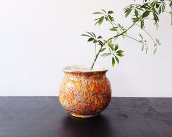 Vintage Planter, Lava Pottery - 1960s  Planter,  Orange, Grey
