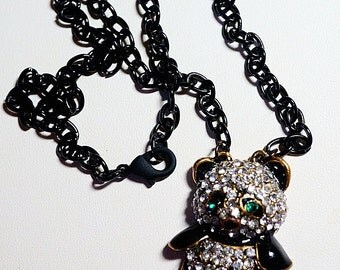 Rhinestone Panda Bear Necklace on Black Enamel Chain