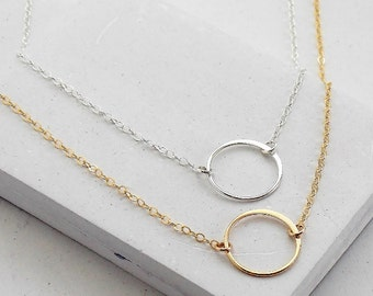 Eternity Circle Necklace   Karma Necklace   Simple Delicate Everday Jewelry   Silver or Gold