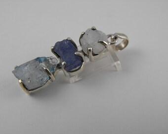 Rough around the Edges Handmade Sterling Silver, Aquamarine, Kyanite, and Quartz Pendant