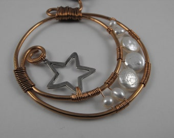 Selene, Goddess of the Moon Copper, Pearl, Sterling Silver, And Silk Wire Wrapped necklace