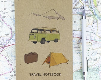 Travel notebook with squared paper - A6 pocket sized notepad - vacation / holiday / adventure / trip / camping - recycled / eco friendly