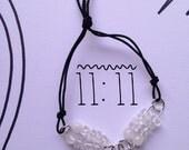 "Morse Code ""11:11"" Moonstone & Quartz Crystal Stretch Bracelet"