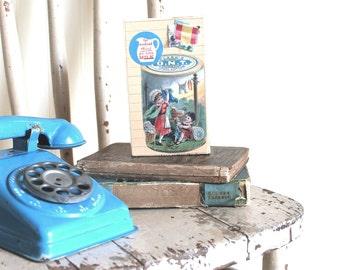 Collage Art Block, Mixed Media Collage Art, Original Collage on Wooden Block, Vintage Laundry Line, Children's Room Decor, Nursery Decor