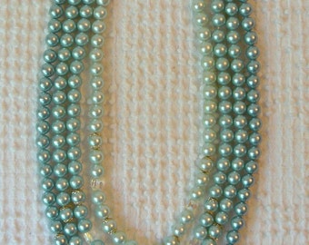 Vintage 3 Strand Blue Green Pearl Necklace with Clear Crystal Accents - Beautiful