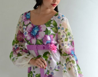 Floral Organza Vintage 60s Maxi Dress Balloon Sleeves Sheer Boho Hippie M